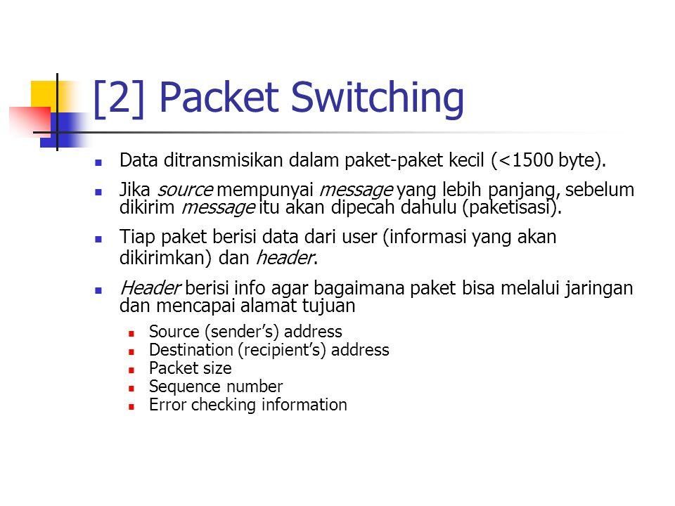 [2] Packet Switching Data ditransmisikan dalam paket-paket kecil (<1500 byte).
